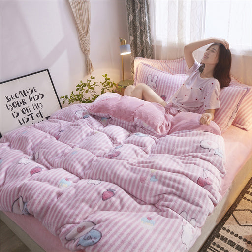 Pastel Bunny Bedding Sheet Pillow Case Set