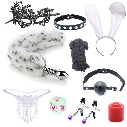Rope Bunny Cosplay Bondage Gear Accessories Sexy Toy Set - 10 PCS Set