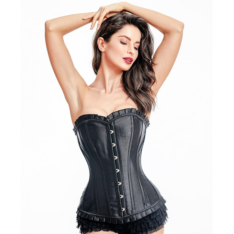 Vocado-Court Steel Bone Gathered Lace Corset