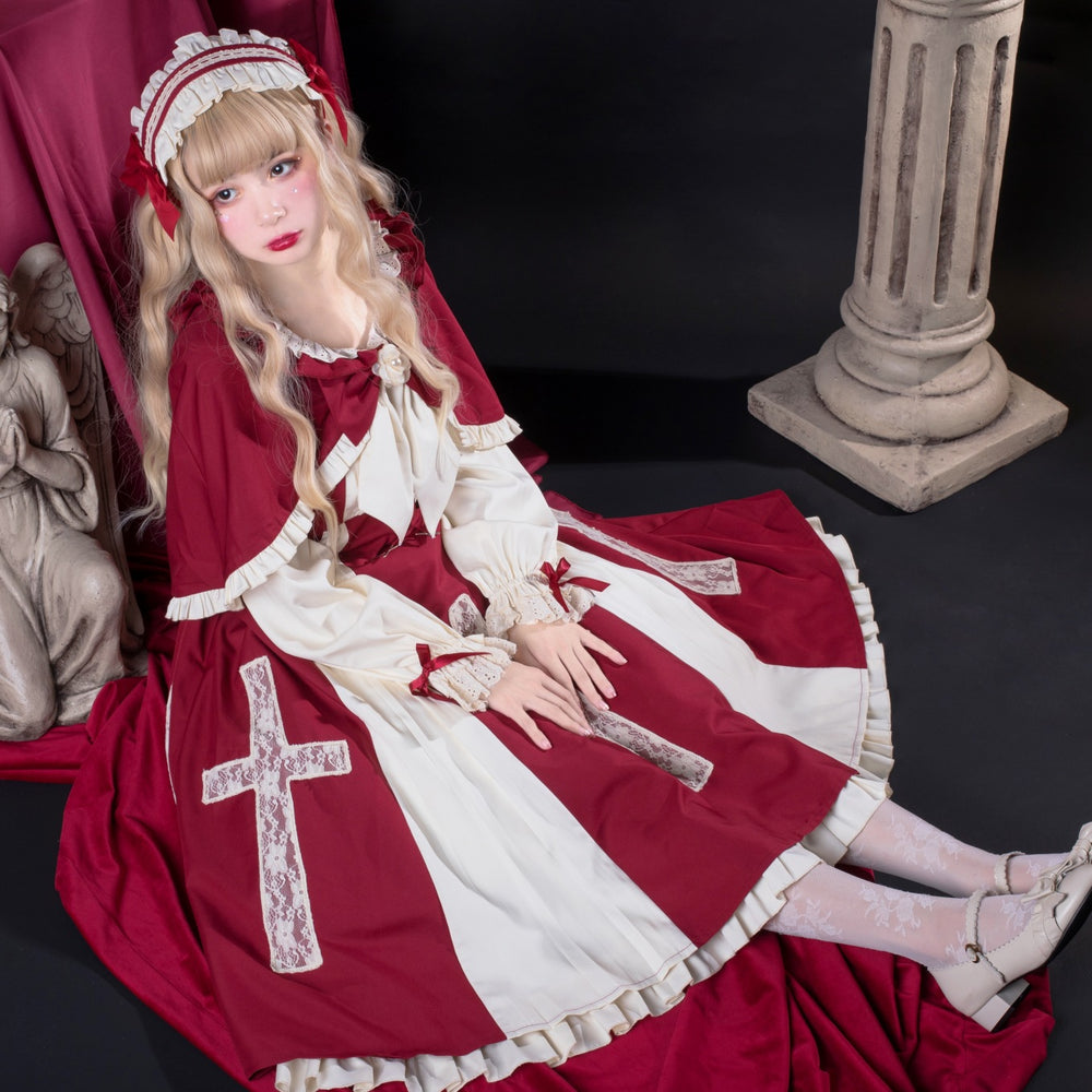 Retro Lolita Cross Contract OP Two-piece Long Sleeve Dress