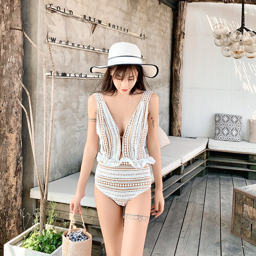 Kawaii Ruffle Deep V-knit embroidered one-piece swimsuit