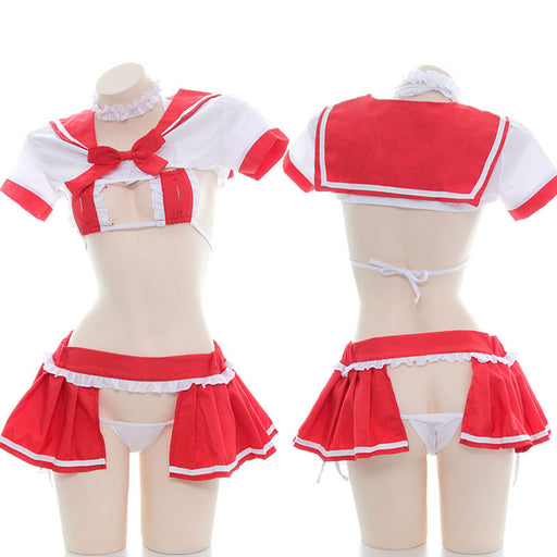 Sexy Amine School Girl Japanese Cosplay Cropped Sailor Moon Lingerie Set