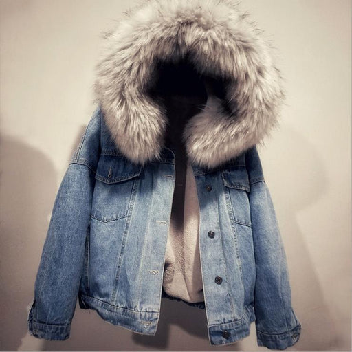 Large fur collar plus velvet thick loose denim cotton coat