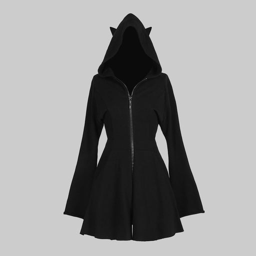 Dark black hooded sweatshirt dress