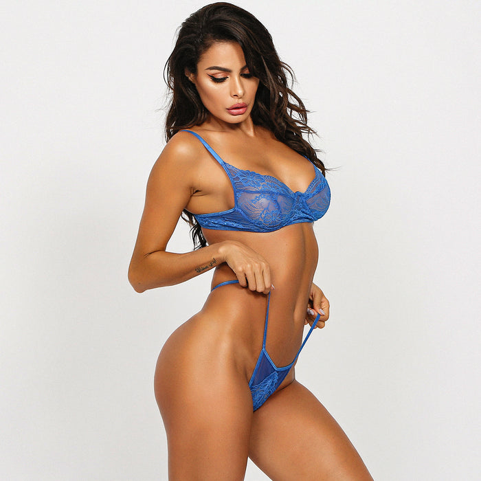 Black Angel's Sexy Blue Lace Sheer Lingerie Set - Blue