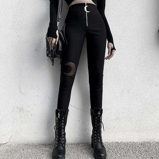Gothic metal embellished crescent zipper high-waisted leggings