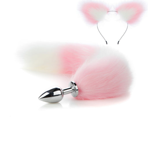 Pink Anime Sexy Cat Ear Headband Butt Plug Tail Set