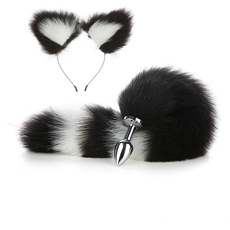 Real Fur Wild Cosplay Japanese Anime Sexy Cat Ear Headband Butt Plug Tail Set
