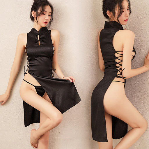 Anime Japanese Style Sexy Keyhole Lace Up Maid Dress Lingerie