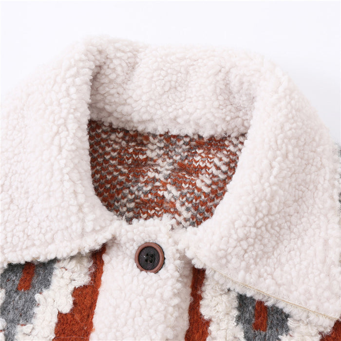 Checked knit stitching lapel cropped coat jacket