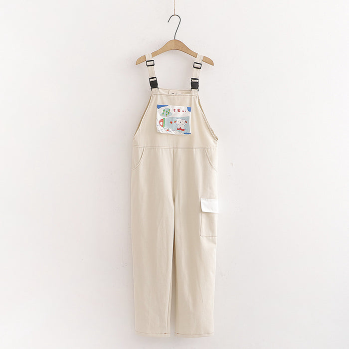Japanese casual all-match loose college style letter bear overalls