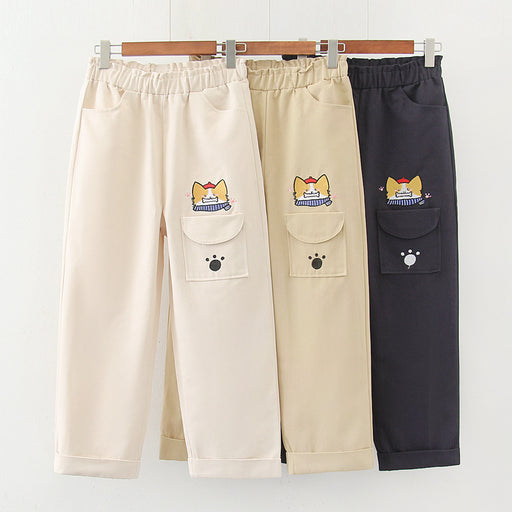 Japanese  Korean  Korean style all-match casual college style cartoon tooling straight trousers