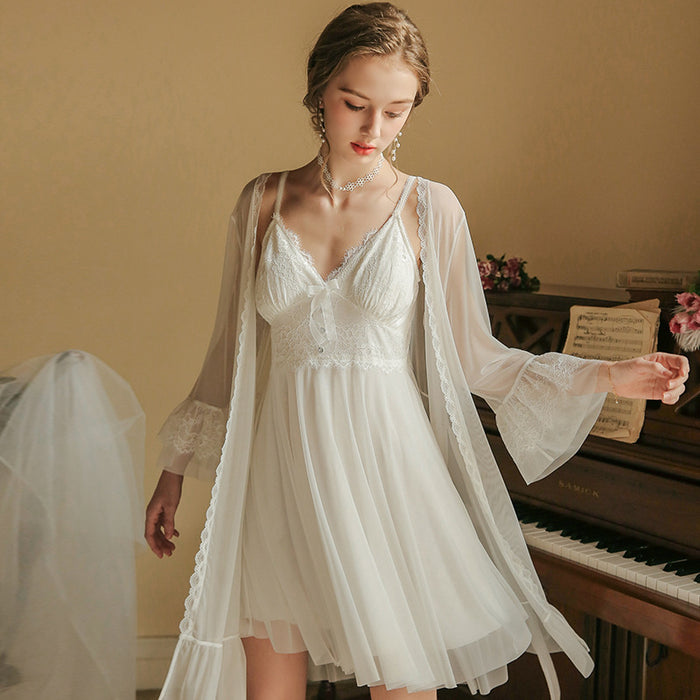 Victorian Era -  Lace Sling Fairy Ice Silk Nightgown Slip Babydoll Set
