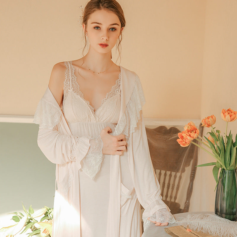 Victorian Era - Modal Nightgown Morning Robe Nightdress Slip Babydoll Set