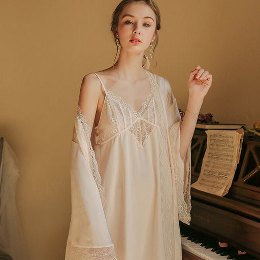 Victorian Era - Silk Bathrobe Bride Dressing Gown Ice Silk Strap Slip Babydoll Night Gown Set