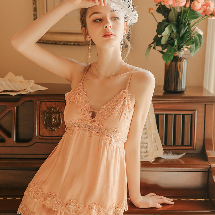 Victorian Era -  Sweet Lace Hollow Three-Piece Slip Babydoll Set