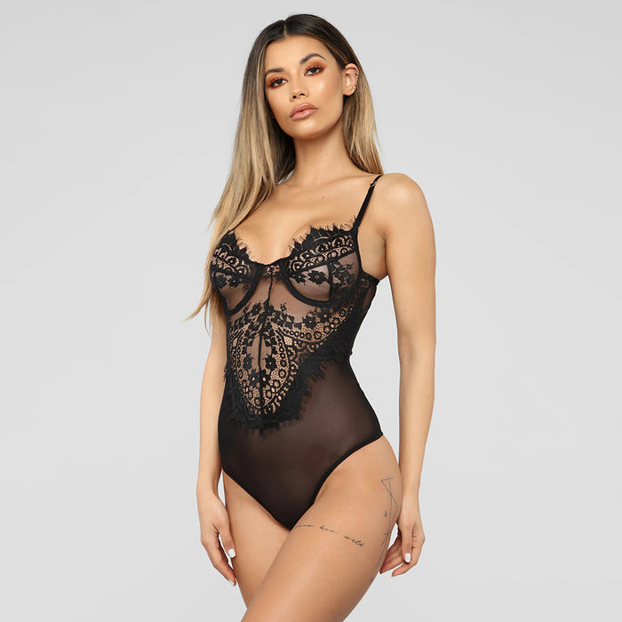 Sexy lace eyelash jumpsuit