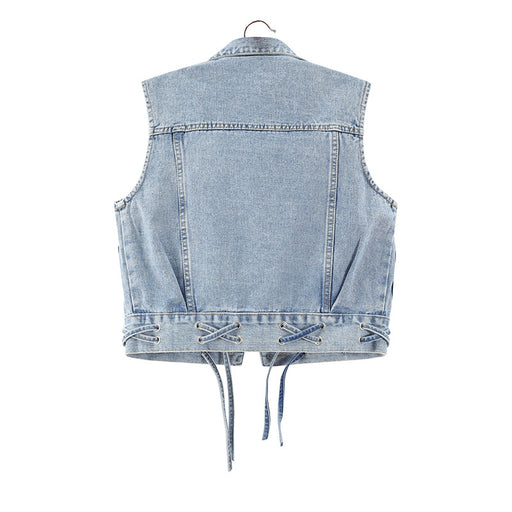 All-match tie denim short vest vest jacket