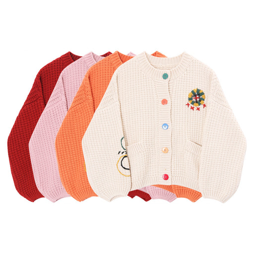 Sweater women's cardigan embroidery round neck loose retro jacket