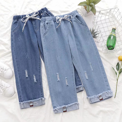 Japanese  Korean college style elastic waist all-match slimming rabbit curled straight cropped pants