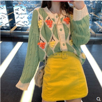 Three-dimensional ball decoration diamond twist knit cardigan sweater jacket