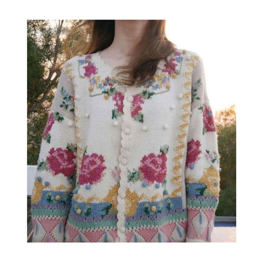 Sweater flower embroidery knitted cardigan jacket