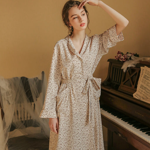 Victorian Era - Cotton Vintage Night Gown Beige