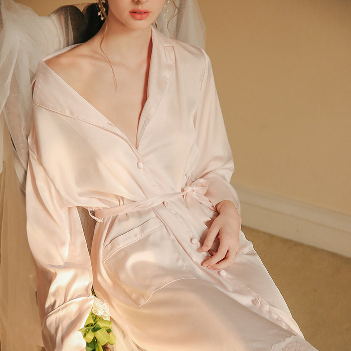 Victorian Era - Pale Pink O-Ring Neck Silk Night Gown