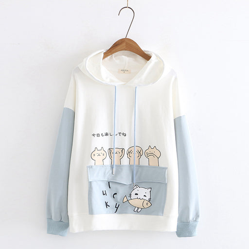 Japanese  Korean sweet college style cat Hoodie