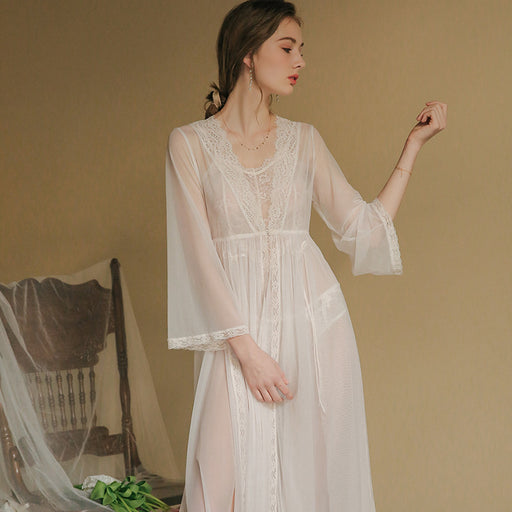 Transparent Sheer Lace Bridal Baby Doll Night Gown