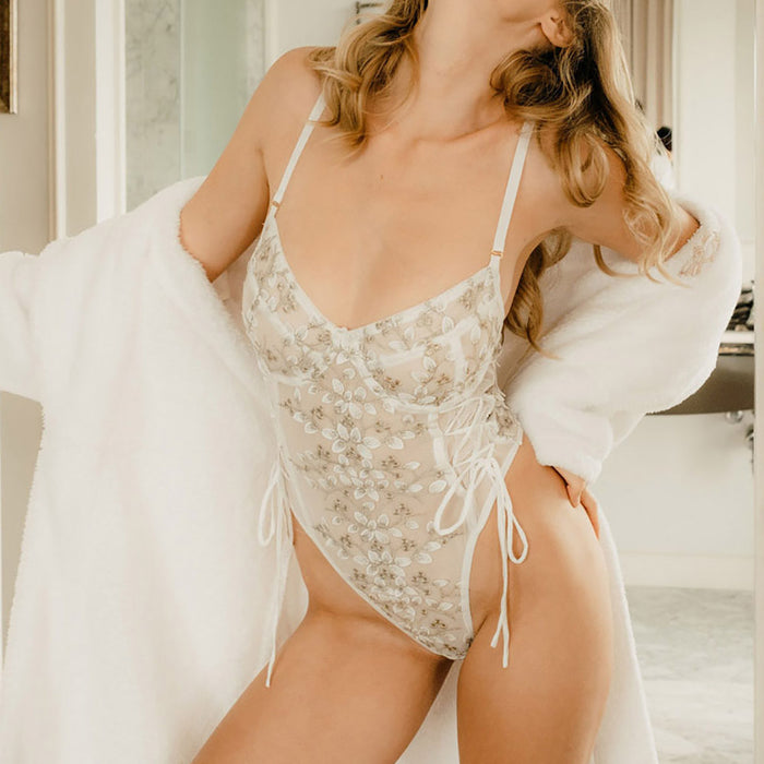 Romantic Floral Lacy See Thru Embroidered Sheer Bodysuit