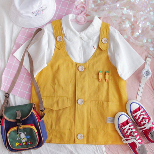 Cute carrot college wind soft girl vest tooling girl vest
