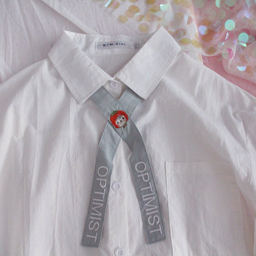 Japanese Harajuku bow tie college style soft girl white shirt