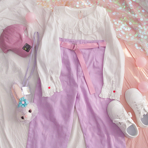 Japanese college wind rabbit ear soft girl white doll collar shirt