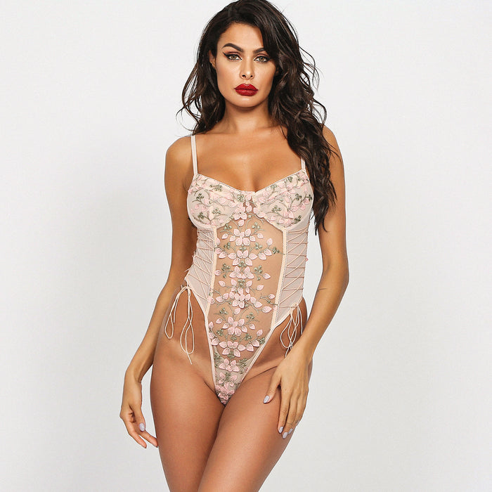 White Romantic Floral Lacy See Thru Embroidered Sheer Bodysuit