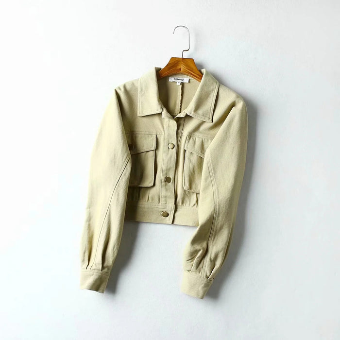 Aesthetic silhouette super short three-dimensional pocket work jacket
