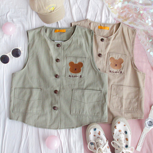 Japanese Harajuku cute and loose bear vest
