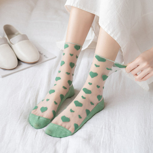 Kawaii Japanese Lace Lolita Sweet Heart Socks - 5 Pairs Set