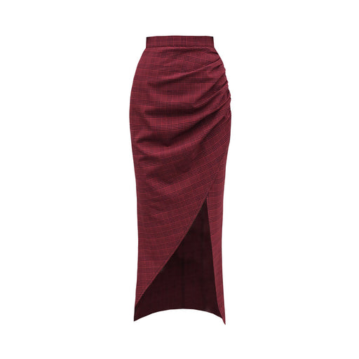 Dark red plaid slit high waist long skirt