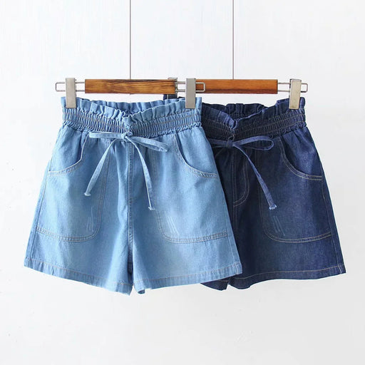 Japanese  Korean  All-match denim shorts with large pockets and elastic waist