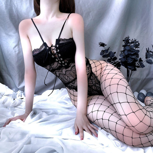 Black Lace Up Seductive Bondage Fishnet Bodysuit