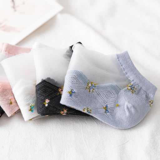 Kawaii Japanese Lace Flower Socks - 5 Pairs Set