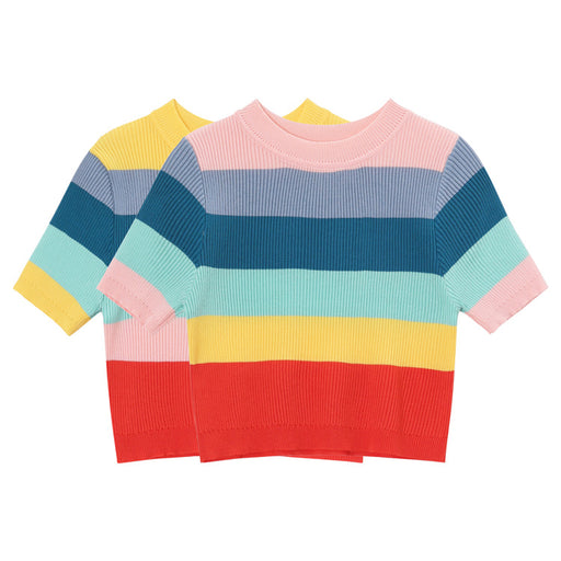 Rainbow stripe cropped short ice silk short sleeve T-shirt