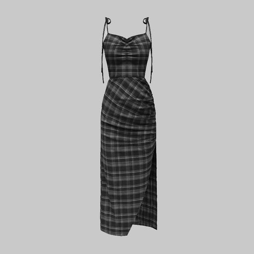 Plaid pleated strap dress