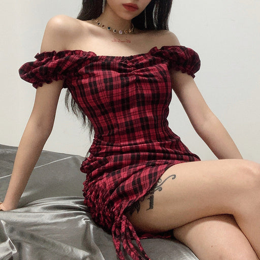 Checked one-shoulder slim bag hip drawstring pleated dress