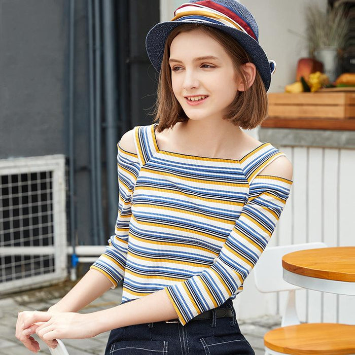 Cold Shoulder Striped Top