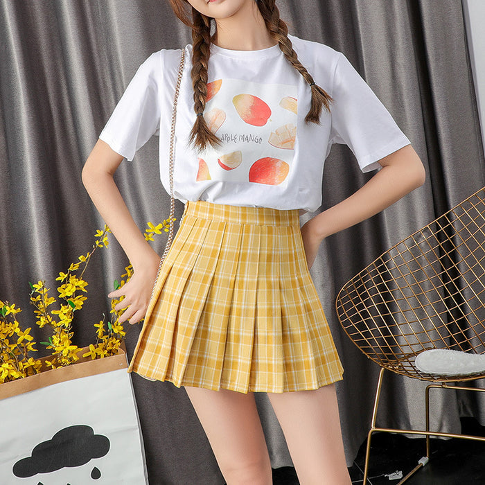 Girly avocado pleated college style A-line skirt 聽