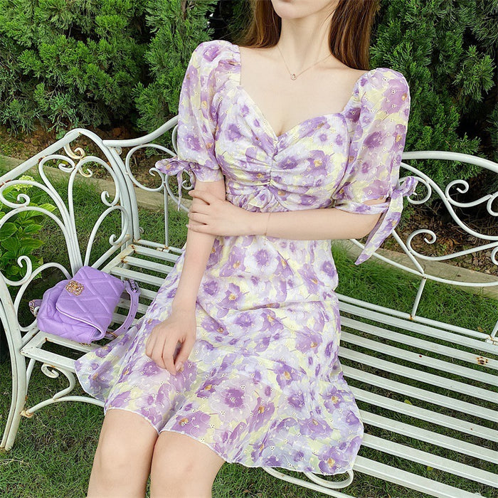 Korean Elegant Lavender Dress