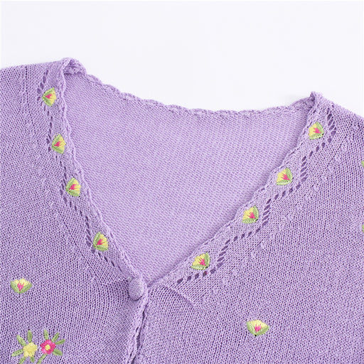Japanese  Korean retro sweet bm wind embroidery flower knitted cardigan T-shirt