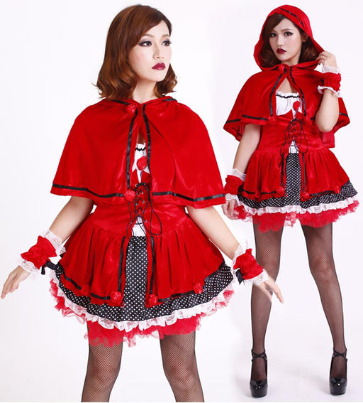 Red Hat Gothic Kawaii Japanese Apron Maid Dress